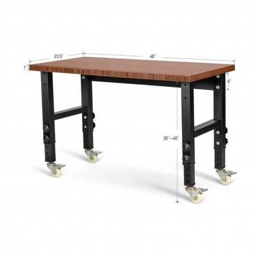 """48""""24"""" Adjustable Height Workbench Mobile Tool Bench Bamboo Top with Caster-Coffee"""