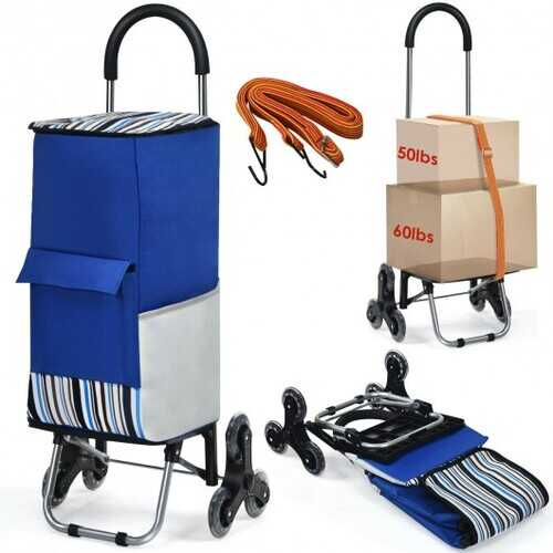 Removable Folding Shopping Cart with Bungee Cord-Blue
