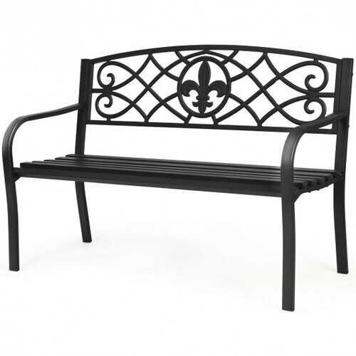 Patio Park Yard Outdoor Furniture Steel Bench