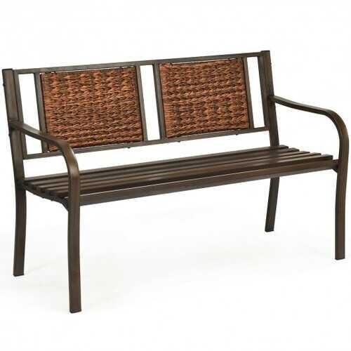 Outdoor Porch Furniture Patio Garden Bench Steel Frame Rattan
