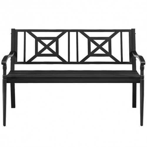 Patio Garden Bench Steel Frame Park Yard Outdoor Furniture
