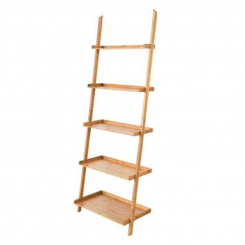 5-Tier Ladder Shelf Bamboo Bookshelf Wall-Leaning Storage Display Plant Stand-Natural