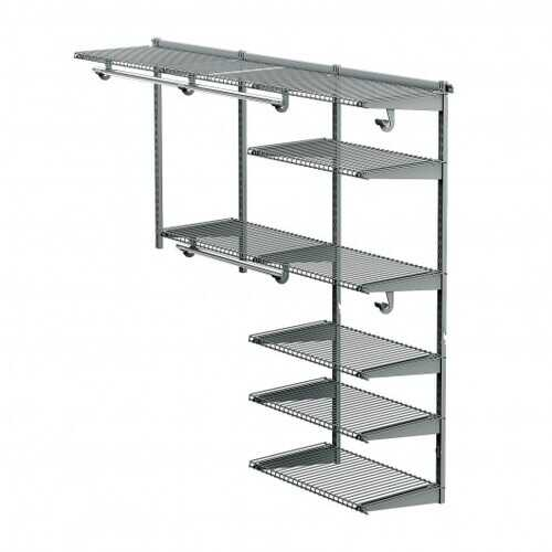Custom Closet Organizer Kit 4 to 6 ft Wall-Mounted Closet System with Hang Rod-Gray