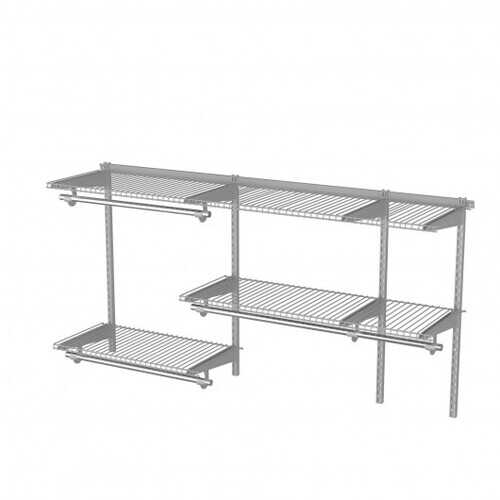 Custom Closet Organizer Kit 3 to 5 ft Wall-Mounted Closet System with Hang Rod-Gray