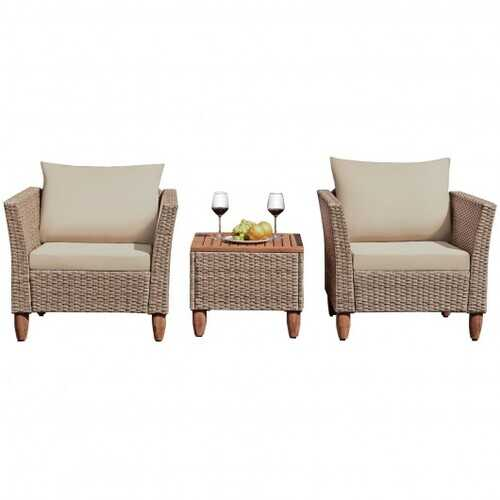 3 Pcs Outdoor Patio Rattan Furniture Set Wooden Table Top Cushioned Sofa