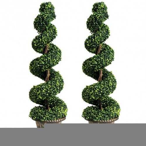 2-Set 4' Artificial  Dcor Green Boxwood Spiral Tree