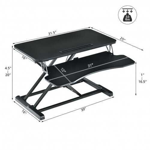 Converter Adjustable Riser Stand Desk with Keyboard Tray-Black