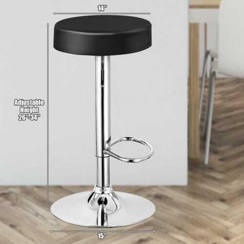 Adjustable Swivel Set of 2 Round Bar Stool  Pub Chair-Black