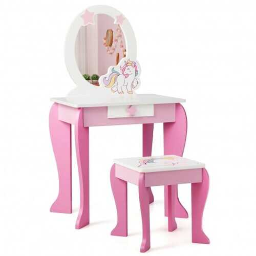 Kids Wooden Makeup Dressing Table and Chair Set with Mirror and Drawer