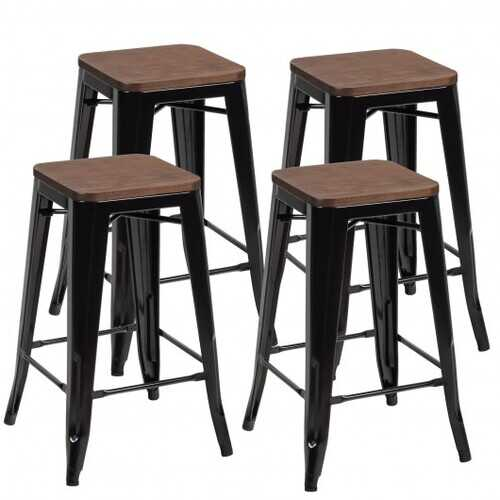 Set of 4 Counter Height Backless Barstool with Wood Seat-Black