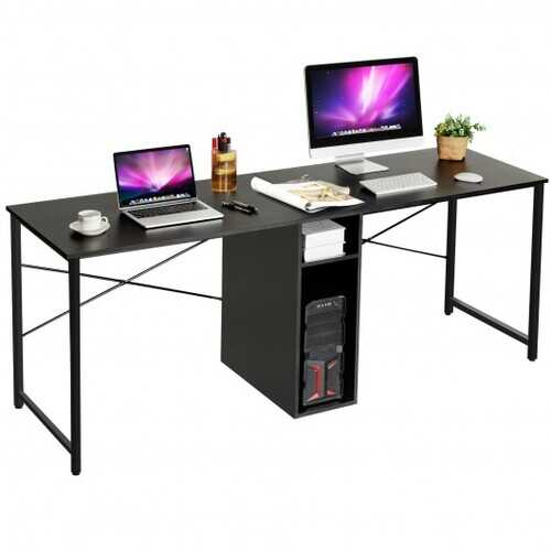"""79"""" Multifunctional Office Desk for 2 Person with Storage-Black"""