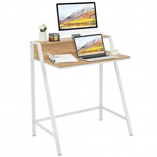 2 Tier Computer Desk PC Laptop Table Study Writing Home Office Workstation New-Walnut