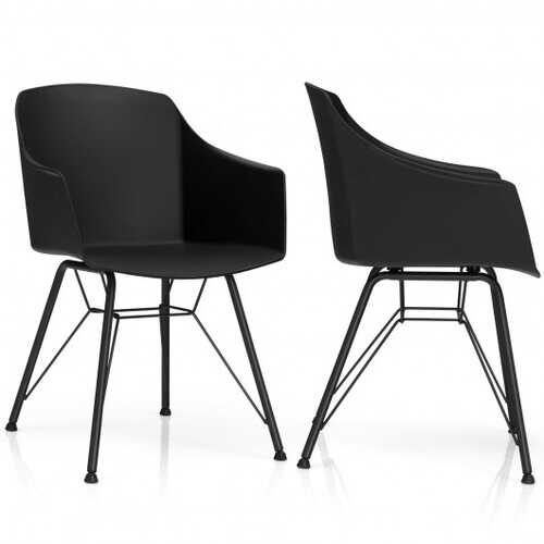 Set of 2 Metal Frame Modern Molded Shell Plastic Dining Chair-Black