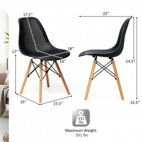 4 Pcs Modern Plastic Hollow Chair Set with Wood Leg-Black