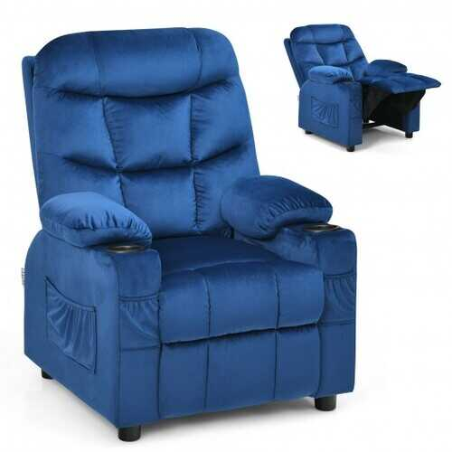 Adjustable Lounge Chair with Footrest and Side Pockets for Children-Blue