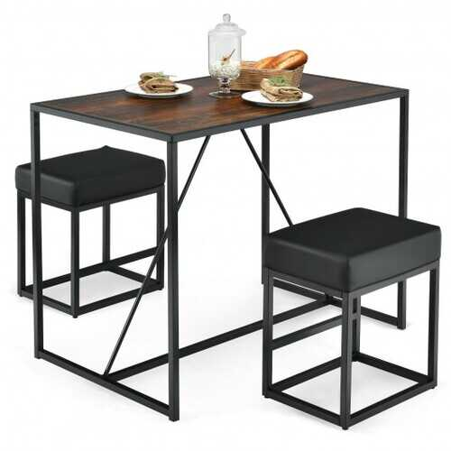 3 Pcs Dining Set Metal Frame Kitchen Table and 2 Stools-Brown