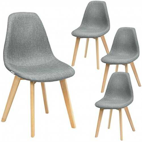 4Pcs Modern Dining Chair Set with Wood Legs and Fabric Cushion Seat