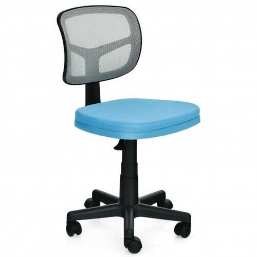 Armless Computer Chair with Height Adjustment and Breathable Mesh for Home Office-Blue