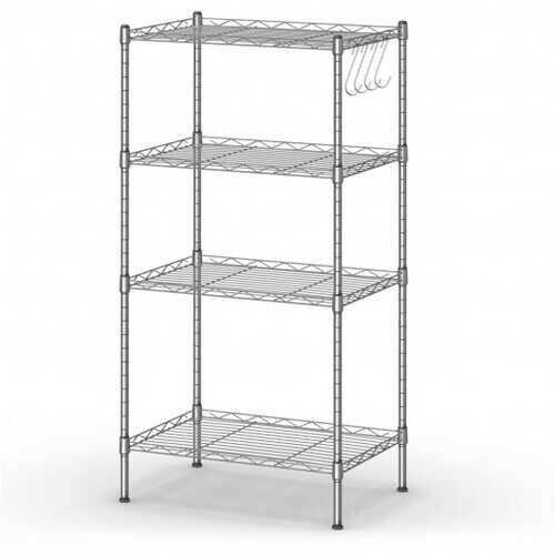 4-Wire Shelving Metal Adjustable Storage Rack with Removable Hooks-Silver
