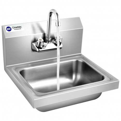 Stainless Steel Sink NSF Wall Mount Hand Washing Sink with Faucet and Back Splash