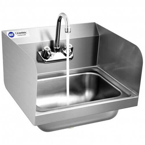 Stainless Steel Sink NSF Wall Mount Hand Washing Sink with Faucet and Side Splash