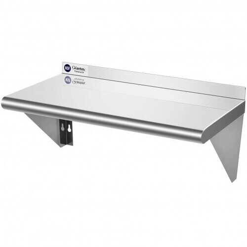"""12"""" 24"""" Stainless Steel NSF Commercial Wall Mount Shelf for Kitchen and Restaurant"""