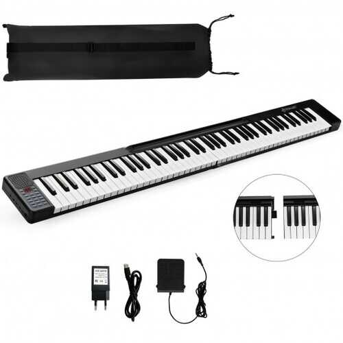 2 in 1 Attachable Digital Piano Keyboard 88/44 Touch sensitive Key with MIDI-Black