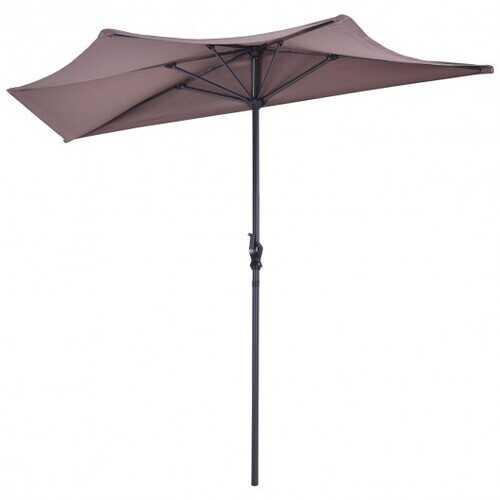 9' Half Round Patio Umbrella Sunshade without Weight Base