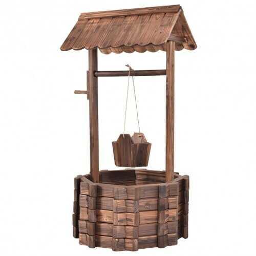 Outdoor Wooden Wishing Well Planter Bucket