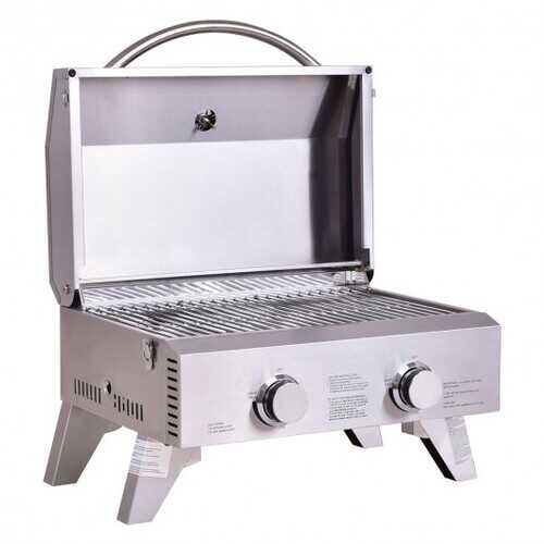 2 Burner Portable Stainless Steel BBQ Table Top Grill for Outdoors