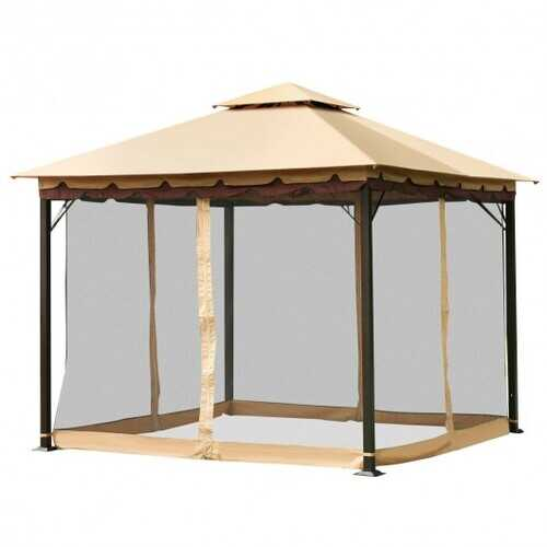 2-Tier 10' x 10'  Patio Shelter Awning Steel Gazebo Canopy