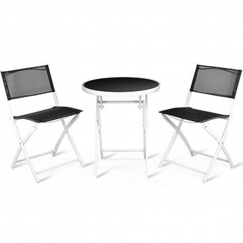 3 Pcs Folding Garden Patio Table Chairs Set -Black