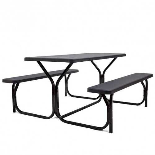 Picnic Table Bench Set for Outdoor Camping -Black