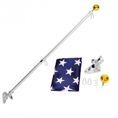 5/6 Ft Telescoping Flagpole Spinning Wall Mount USA Flag Kit-5'