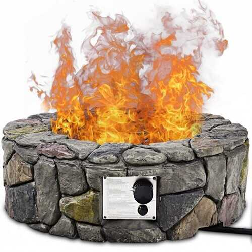 "28"" Propane Gas Fire Pit with Lava Rocks and Protective Cover"