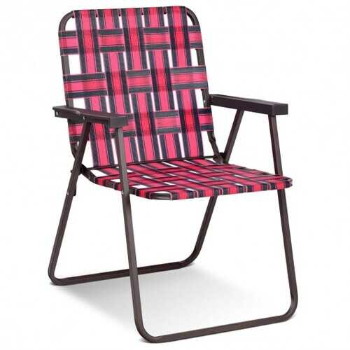 6 pcs Folding Beach Chair Camping Lawn Webbing Chair-Red