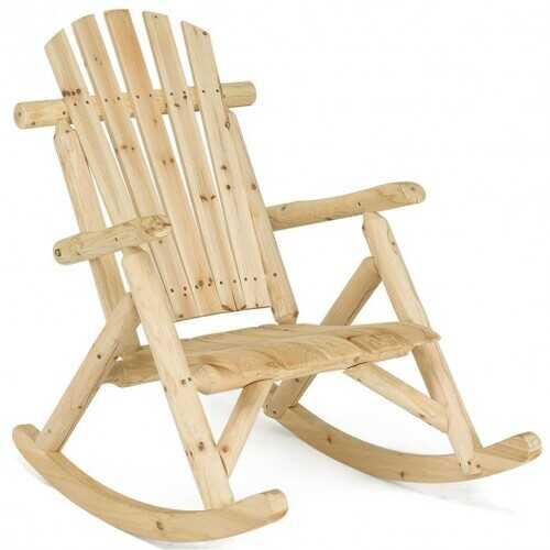 Wood Single Porch Rocker Lounge Patio Rocking Chair