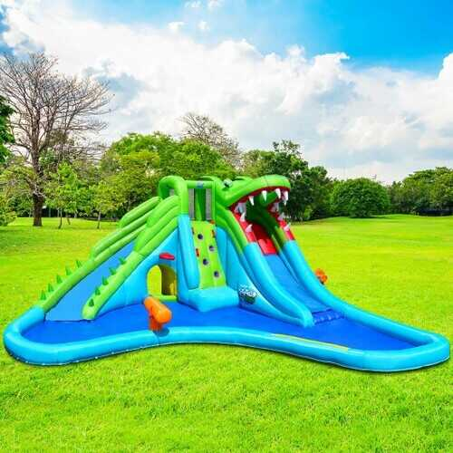 Crocodile Themed Inflatable Slide Bouncer with Two Water Slides