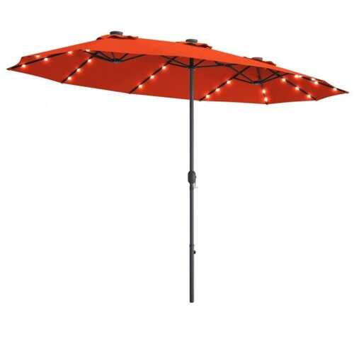 15 Ft Patio LED Crank Solar Powered 36 Lights  Umbrella without Weight Base-Tan