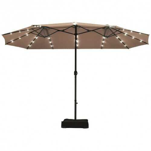 15 Ft Solar LED Patio Double-sided Umbrella Market Umbrella without Weight Base