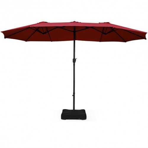 15 Ft Patio Umbrella Outdoor Umbrella with Crank and Base-Burgundy