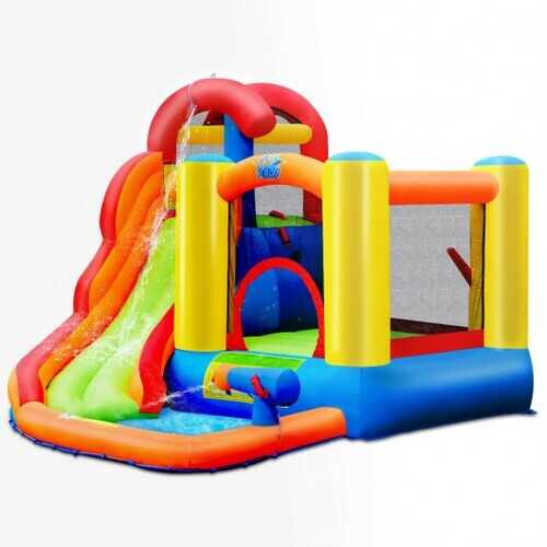 Inflatable Bounce House Water Slide with Pool and Cannon
