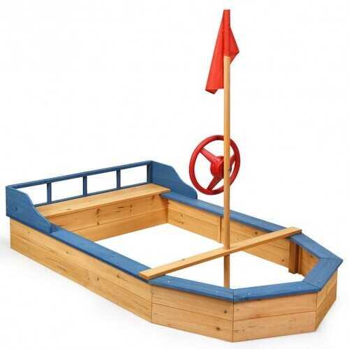 Wooden Pirate Sandboat Covered Sandboxes w/Bench Seat