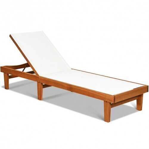Solid Wood Back Adjustable Patio Lounge Chair