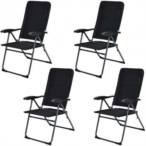 Set of 4 Patio Folding Chairs with Adjustable Backrest-Black