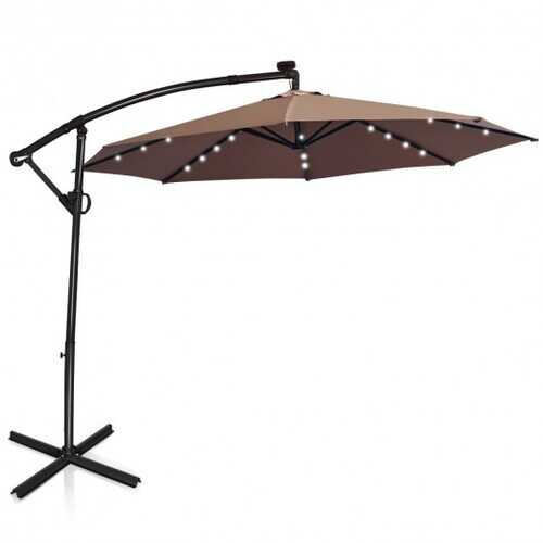 10 ft 360° Rotation Solar Powered LED Patio Offset Umbrella without Weight Base-Beige