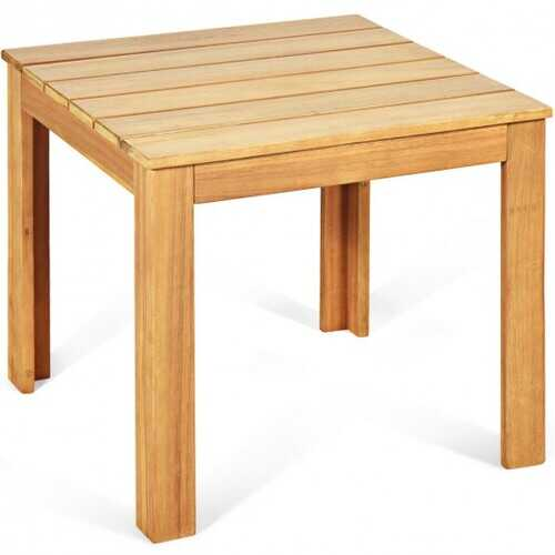 Wooden Square Patio Coffee Bistro Table-Natural