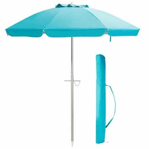 6.5 ft Sun Shade Patio Beach Umbrella with Carry Bag without Weight Base-Blue