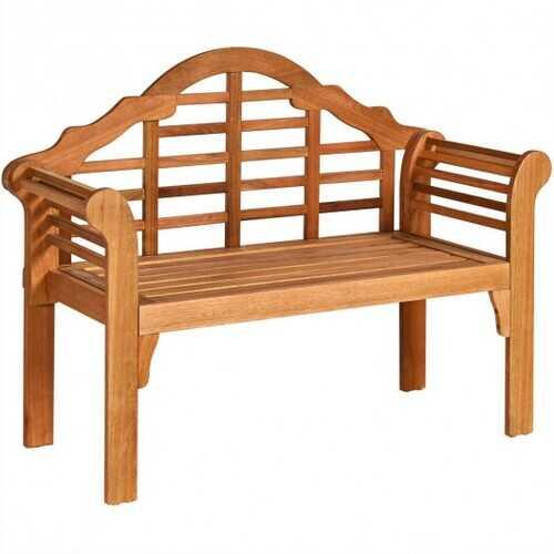 "49"" Eucalyptus Wood Outdoor Folding Bench with Backrest Armrest for Patio Garden"