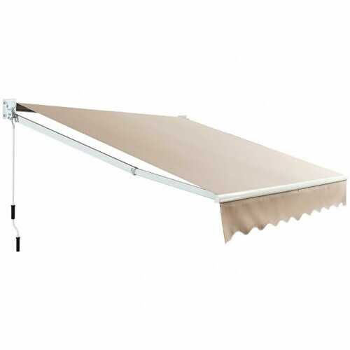 8FT  6.5FT Retractable Aluminum Patio Sun Awning-Beige